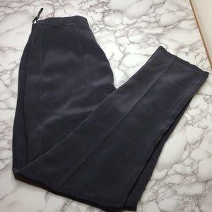 Pants - Grey silk high-waisted pants